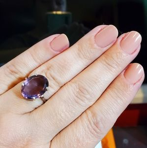 Faceted large oval amethyst ring, sterling silver